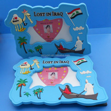 Tourist souvenir PVC photo frame for country city, with 3D camel and flag Iraq