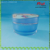5g 15g 30g 50g blue golden empty pyramid round acrylic jars, plastic acrylic cream containers, high-end cosmetics packaging