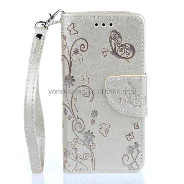 Embossed Butterflies PU Leather Phone Case for iPhone 5S 5G SE Stand Function Wallet Flip Cover Magnet Closure Card