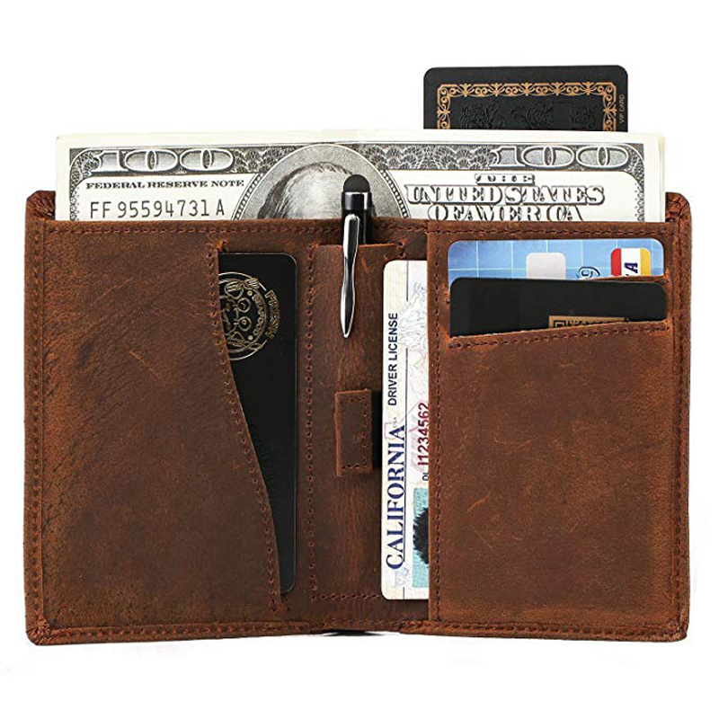 New Coming High Quality OEM Factory Smart Card Holder with Pen Clip Leather Wallet for <strong>Men</strong> Wholesale from China