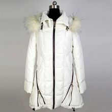 Manufacturer sale comfortable beautiful white long girls winter padded coat lady'warm coat