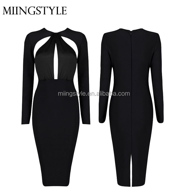 Woman bodycon cocktail formal party dress , long sleeve one-piece latest dress designs bandage dress for ladies