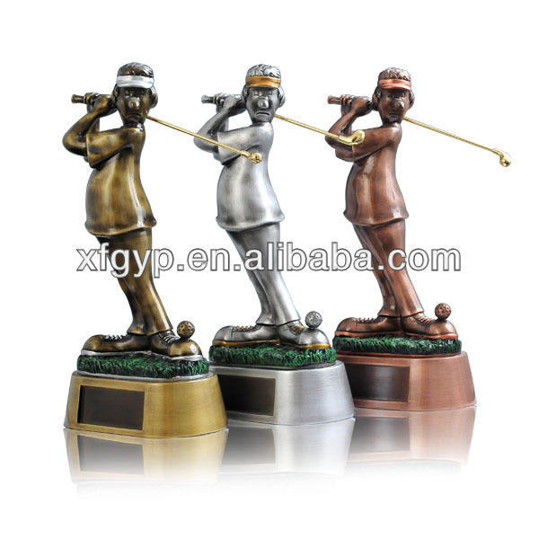 Golden/silver/copper golf design items funny figure golf putting trophy