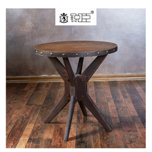 Retail dark brown wooden display tables For Garment Store