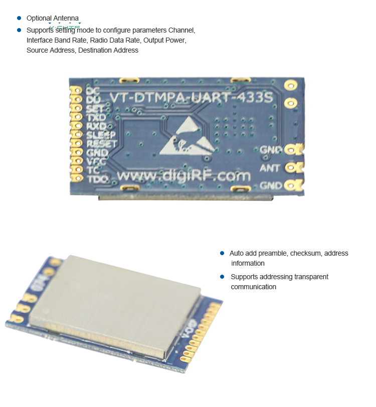 Top Quality Uart 1200Bps-500Kbps Data Rate rf module 433mhz mesh network