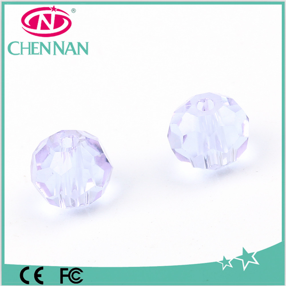 Wholesale high quality ball blue crytal glass 48 faceted beads in bulk