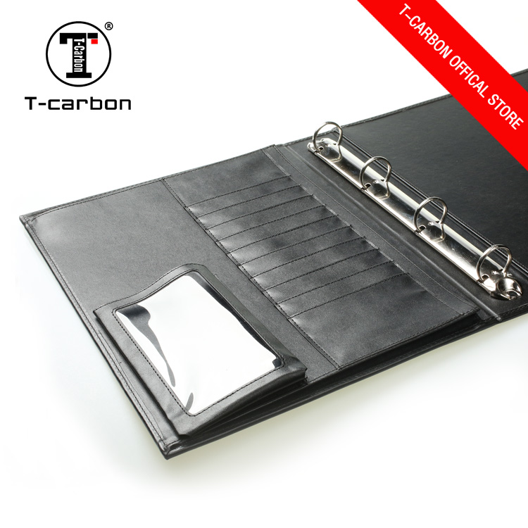 T-carbon custom printed office stationery leather a4 size file folder with business card pocket