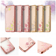 Butterfly diamond style for iphone 7 case electroplated soft tpu case for iphone 5c case for ipad