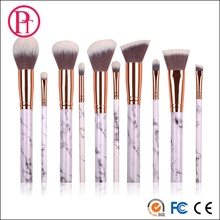 2017 hot new design metalic 10pcs marble handle private label makeup brush set with customized bag