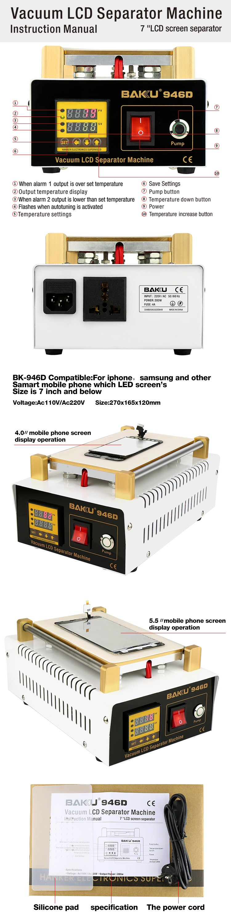 Hot products BK-946D digital lcd touch screen glass separator repair machine with exceptional quality for mobile phone