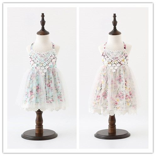 2017 New Baby Girls Cute Dazzel Lace Summer Dresses, Princess Kids Fairy Sweet Clothes 5 pcs/lot,Wholesale