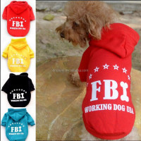 FREE SHIPPING!!! Best Quality Cotton Fashion Sports dog clothes Chihuahua Puppy pet dog clothing Warm FBI Dog coat hoodie