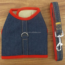 Pets Upscale Denim Vest Harness + Leash Good Ventilation Leashes Red Blue Black Dog Harness For Medium And Small Units