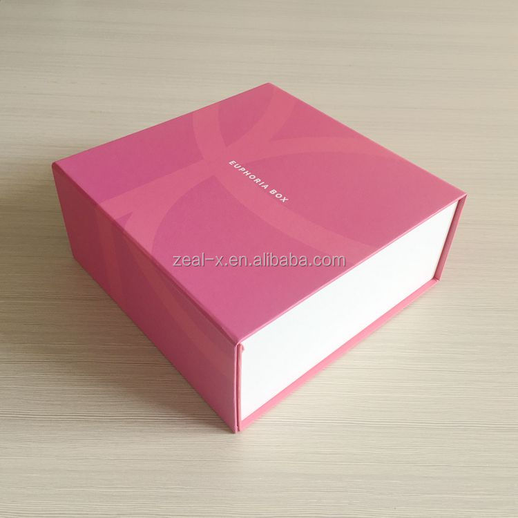 High quality light pink paper magnet gift box,sex game box,flat pack gift box