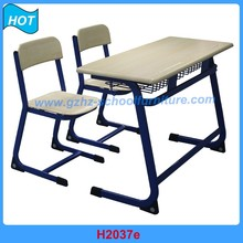 Hot Sale Double School Desk and Chair Moulded Board Metal Frame School Set