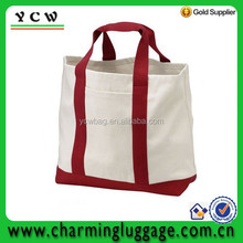 Natural/ red cotton canvas blank Shopping canvas Tote Bag