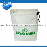 big drawstring cotton flour bags with logo
