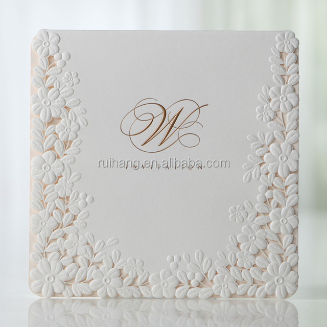 Hot sale & new arrival elegant white embossed laser cut floral wedding invitations