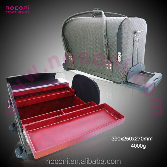 noconi professional popular leather cosmetic case with trolley/wheel
