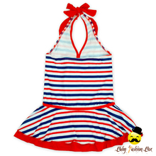 Kids Red And Blue Striped Sleeveless Halter Young Girl Separable Swimsuit Bikini Matching Mini Skirt Set Clothes