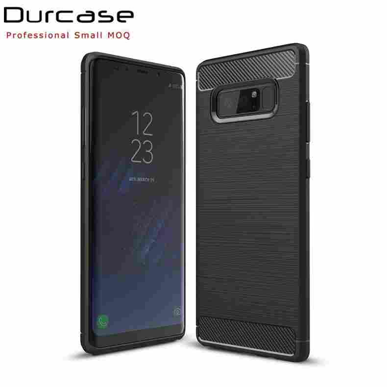 High Quality Brush Carbon Fiber Pattern TPU Shock Proof Cell Phone Case Back Cover For Samsung Galaxy Note 8