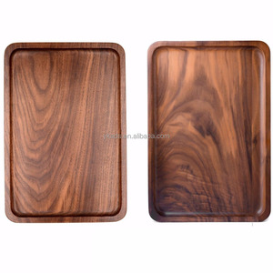 Wood food serving tray with double handles in Customized Shape