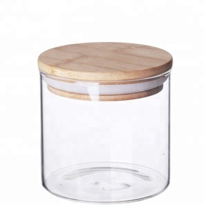 100ml Borosilicate Glass Airtight Canister Storage Jar Bamboo Lid Jar Candy glass Jar