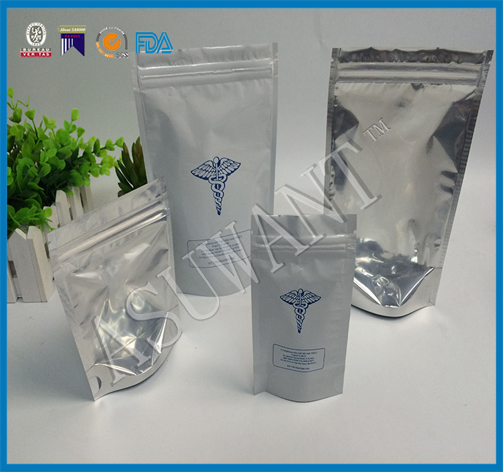 China suppliers clear front stand up ziplock pouch aluminum foil mylar bag resealable smell proof bags for drugs