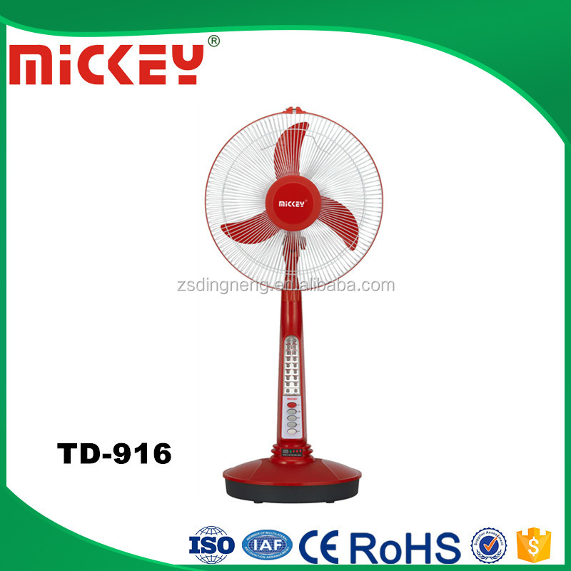 Popular Model 16 inches AC DC 12V Solar Emergency Rechargeable Fan with light TD-916