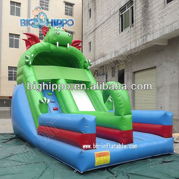 Lovely Green dragon inflatable bouncy slide for sale
