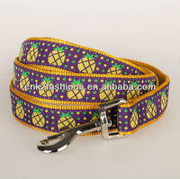 Bright Pineapple silked Pet Dog Leash Nylon Lead embroidery