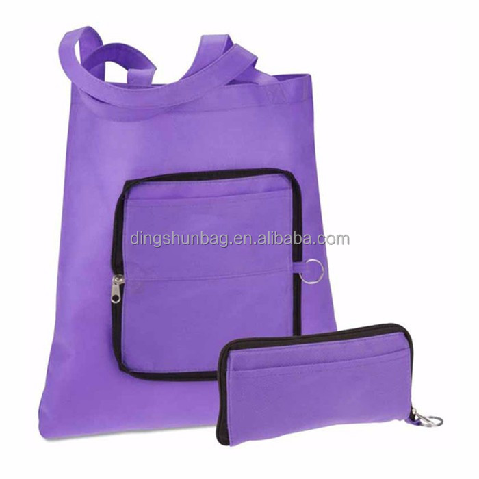 polyester folding foldable shopper tote shopping bag with zipper