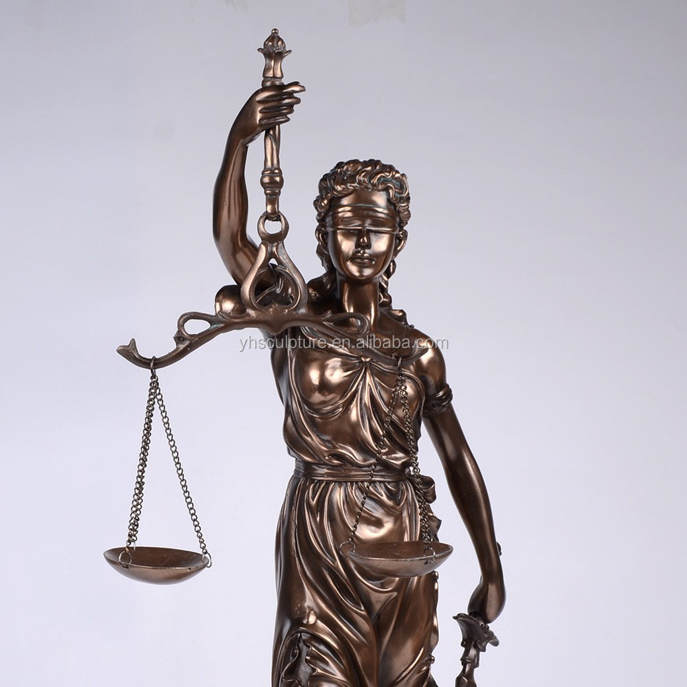 resin bronze finished Lady Justice greek statues