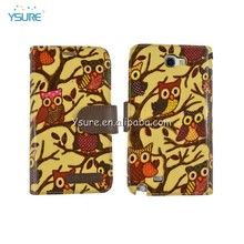 new products 2014 hot owl pattern leather cover for samsung note 2 n7100 hard plastic phone case