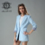 2016 New Fashion style women suit jacket light blue slim women suit jacket long version jacket
