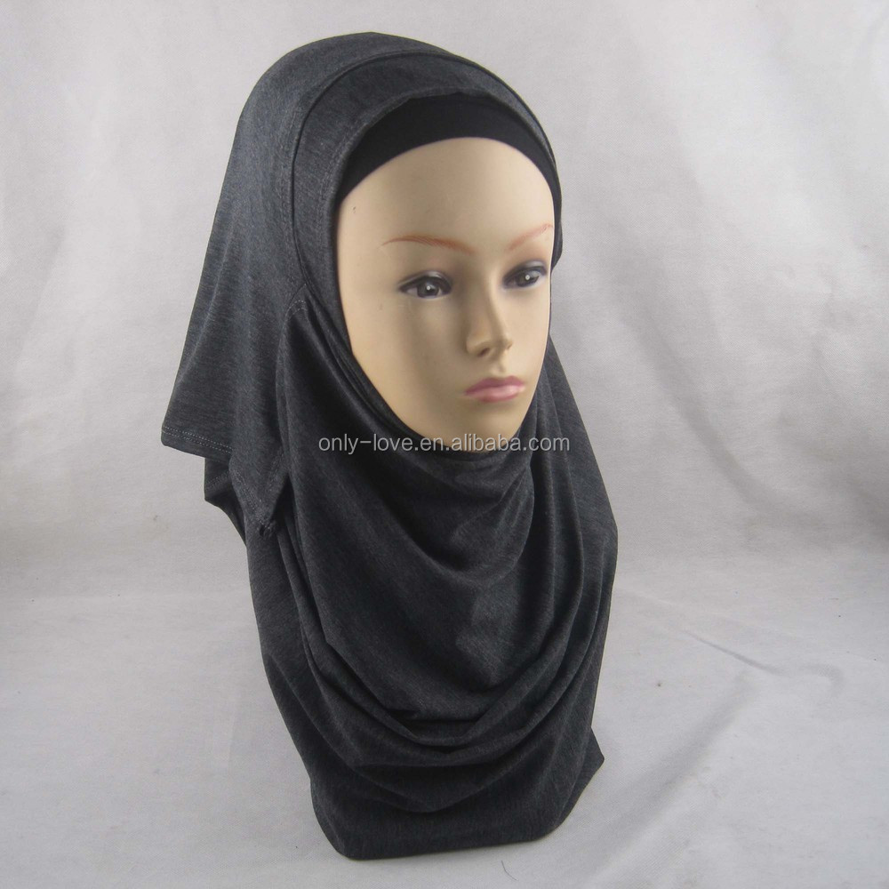 Two Faces double loops Plain Cotton Jersey Instant hijab Full Cover Inner Muslim Islamic Head Wear Slip On Shawl JLS128