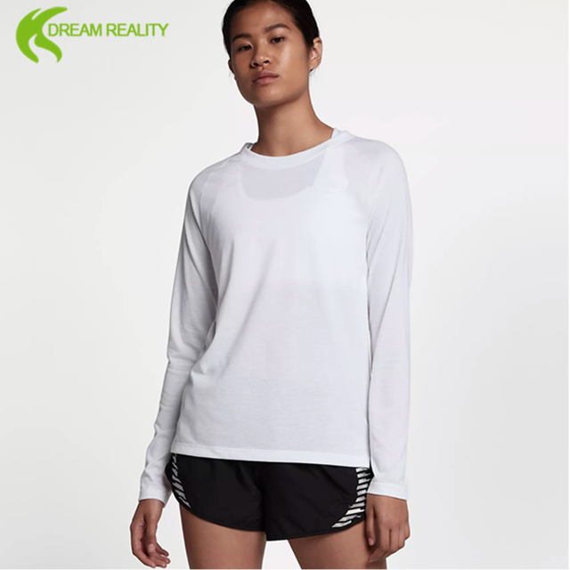 professional designer women's quality blank long sleeve tight running t shirt low price