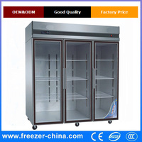 3 doors cold drink commercial Stainless steel fridge
