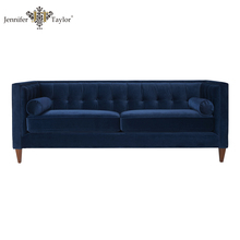 Home furniture factory direct sell one piece MOQ navy blue velvet upholstery couch