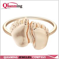 Gold Silver Two Feet Fashion stackable Rings for women men gift