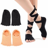 Anti Slip Toeless Grip Yoga Socks With Silk Ribbon Black Barre Pilates Exercise Half Toe Low Cut Cotton Ankle Socks For Women