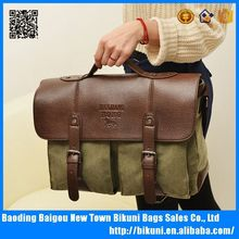 Fashion Latest vintage canvas and leather messenger bags mens canvas briefcases
