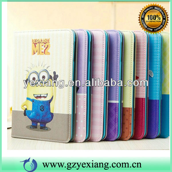 Wholesale Design Leather Skin Minion Case Tablet Case For ipad Mini