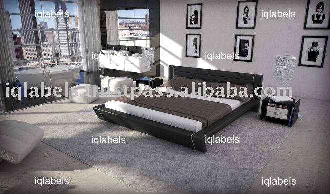 0113 Luxury Italian Leather PU Bed - Modern Black PVC Leather