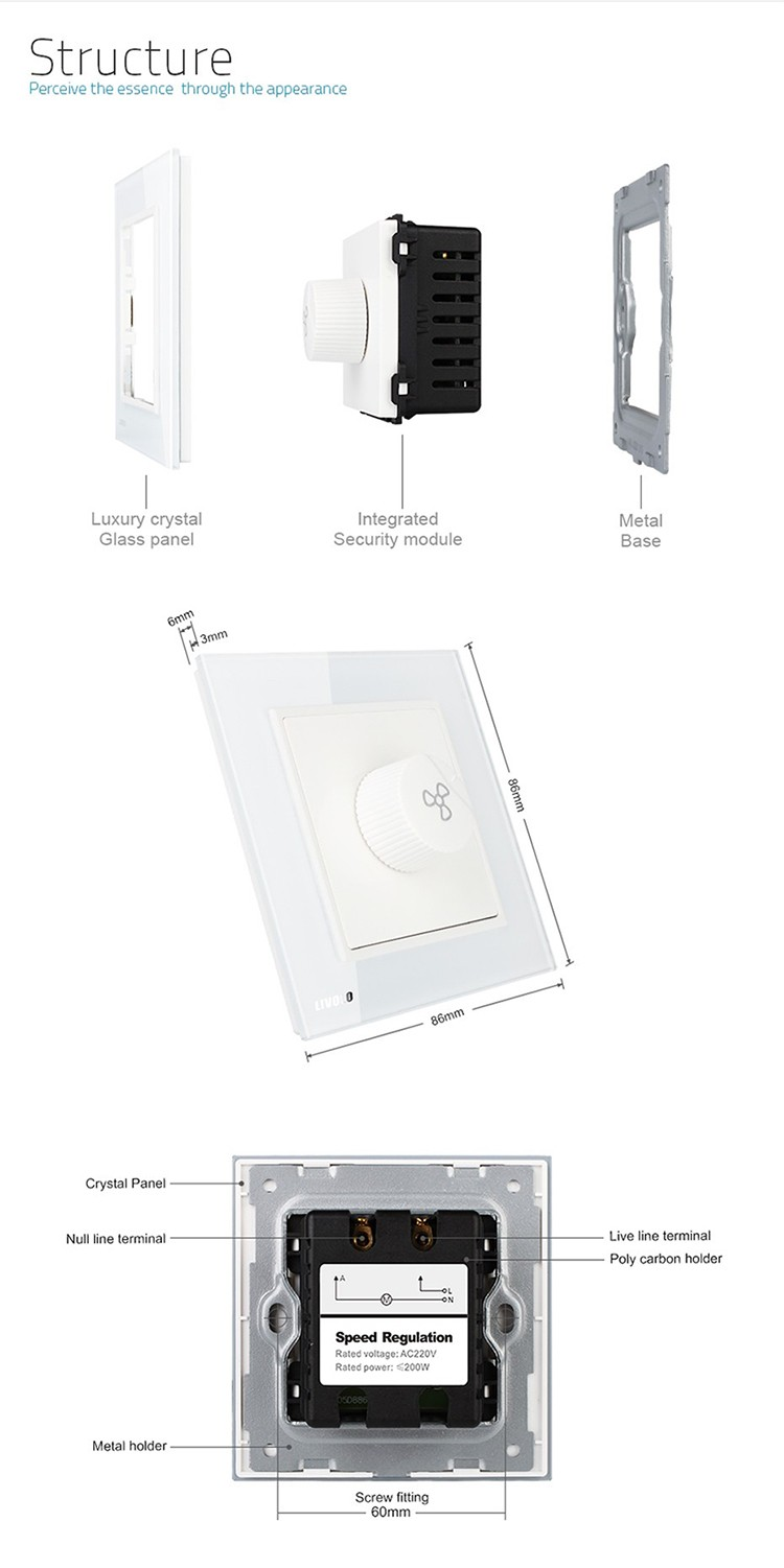 Livolo New Luxury Fan Switch Speed Regulation White Crystal Glass Panel AC 110~250V Home Wall Electrical Switch VL-W291S-12