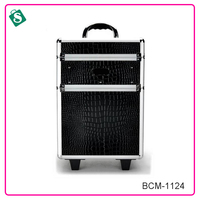 Professional women large crocodile grain 4 in 1 Aluminum Makeup Case With Legs.