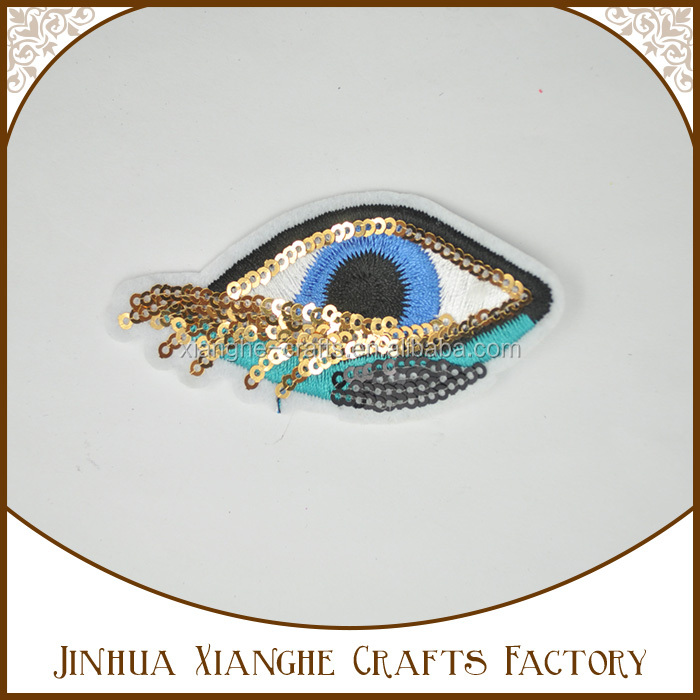 Hot Sell Fashion Eye Sequin embroidery patch Iron on Cloth