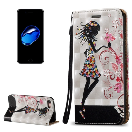 fashion 3D Painted Skull Butterfly PU Leather Case for iPhone 7 Flip Wallet Magnetic phone bag