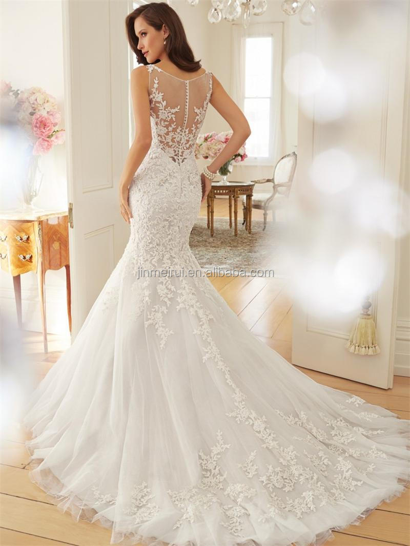 High Quality sexy Mermaid wedding dresses 2016 elegant scoop neckline Floor Length Sleeveless Lace Appliques wedding dresses