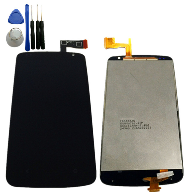Black 1PCS LCD For HTC Desire 500 D500 Display and Touch Screen Panel Digitizer Assembly With free tools